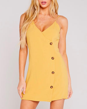 Belle V-Neck Buttoned Side Dress - Mustard
