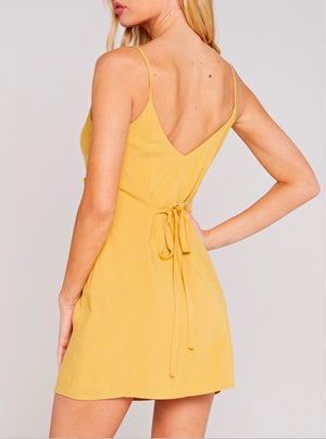 Final Sale - Belle V-Neck Buttoned Side Dress - Mustard