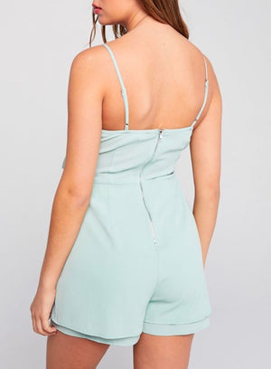 Front Ribbon Tie Spaghetti Strap Romper - More Colors
