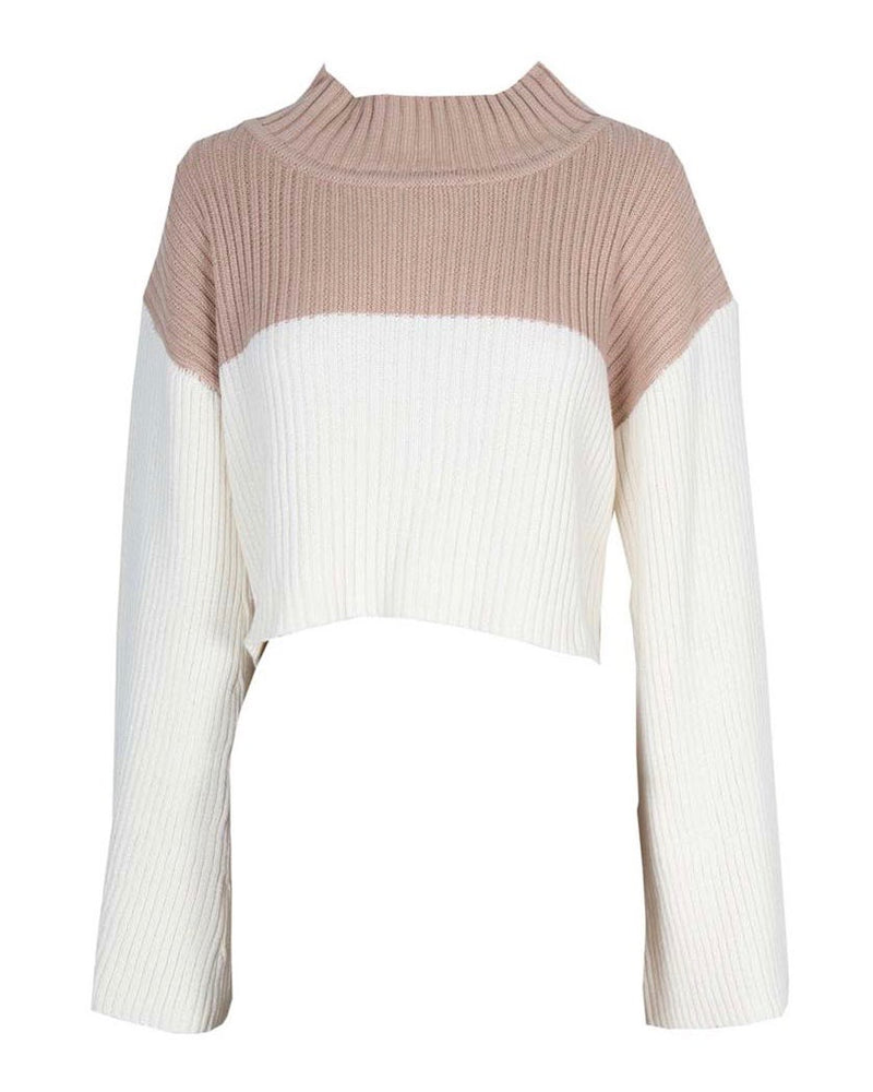 Final Sale - Somedays Lovin - Like a Melody Jumper Ribbed Bell Sleeve Sweater in Cream/Dusty Pink