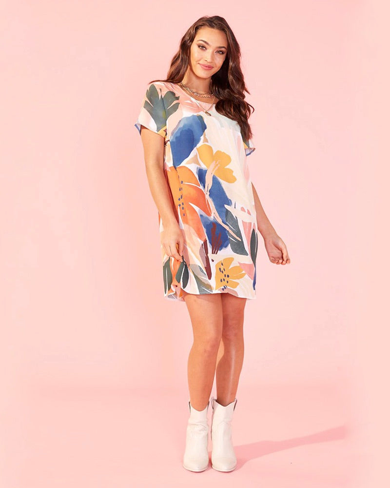 MINKPINK - Abstract Foliage Tee Dress in Multi