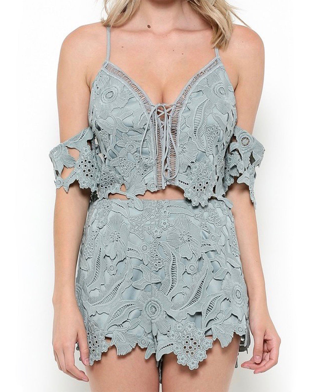 Wanderlust Floral Lace Off The Shoulder Two Piece Set in Slate Blue