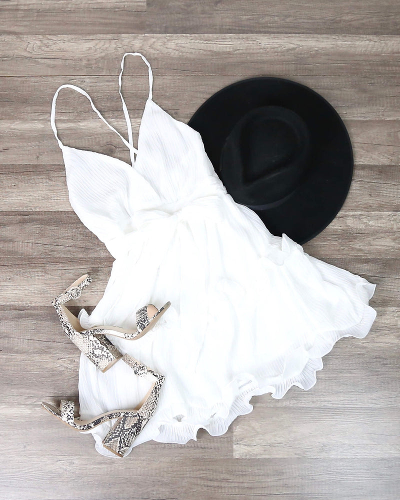 Sabrina Sleeveless Ruffle Trim Criss Cross Dress in White