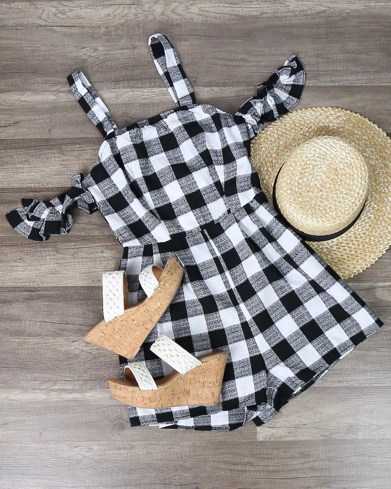 Final Sale - Gingham Romper With Off The Shoulder Frills