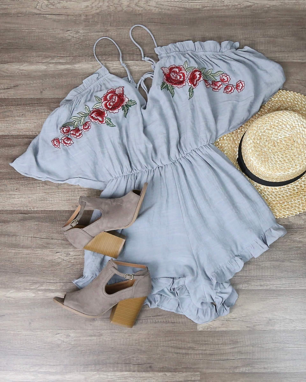 Final Sale - Cold Shoulder Ruffle Hem Embroidered Romper - More Colors