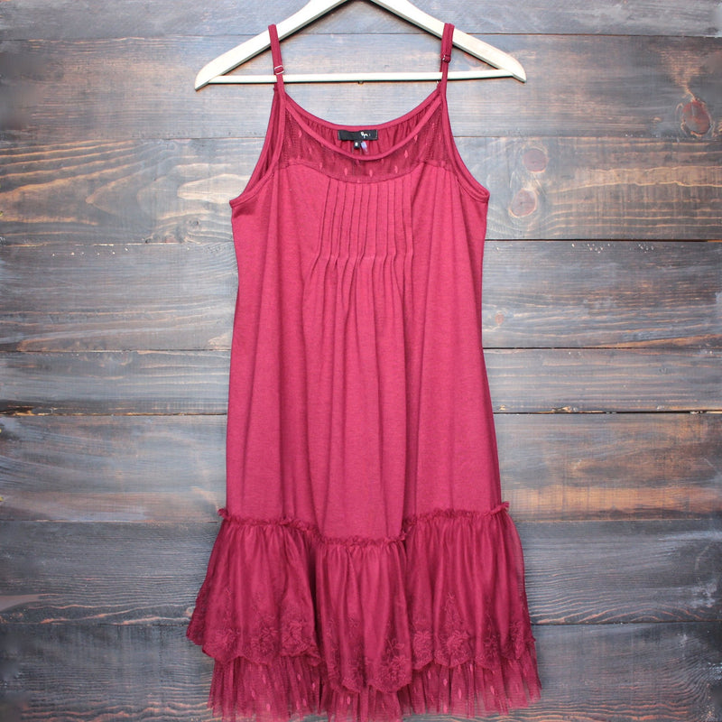 Ryu whimsical fairytale lace dress slip - red - shophearts