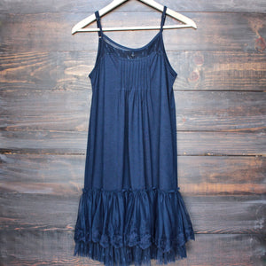 Ryu whimsical fairytale lace dress slip - navy - shophearts