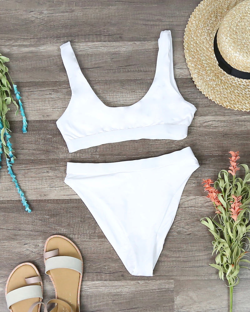 Dippin' Daisy's - Kylie Sporty Swim Top + Banded High Waist High Cut Cheeky Bottom in White