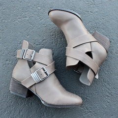cute double buckled cut out ankle boot with stacked heels (more colors) - shophearts - 4