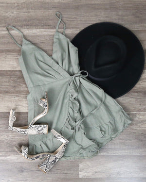 All the Things We Love Linen Wrap Romper -Khaki