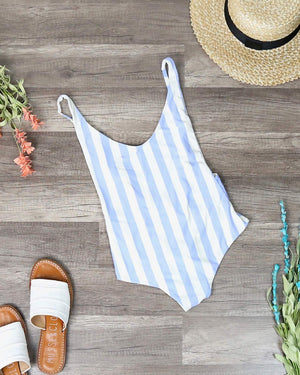 Dippin' Daisy - Seamless High Cut Vintage Thong One Piece - Sky Stripes