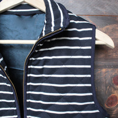 lightweight navy & white stripe quilted puffer vest - shophearts - 3