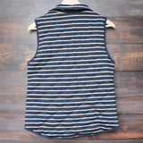 lightweight navy & white stripe quilted puffer vest - shophearts - 2