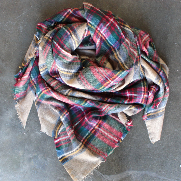 oversize plaid blanket scarf - shophearts - 2