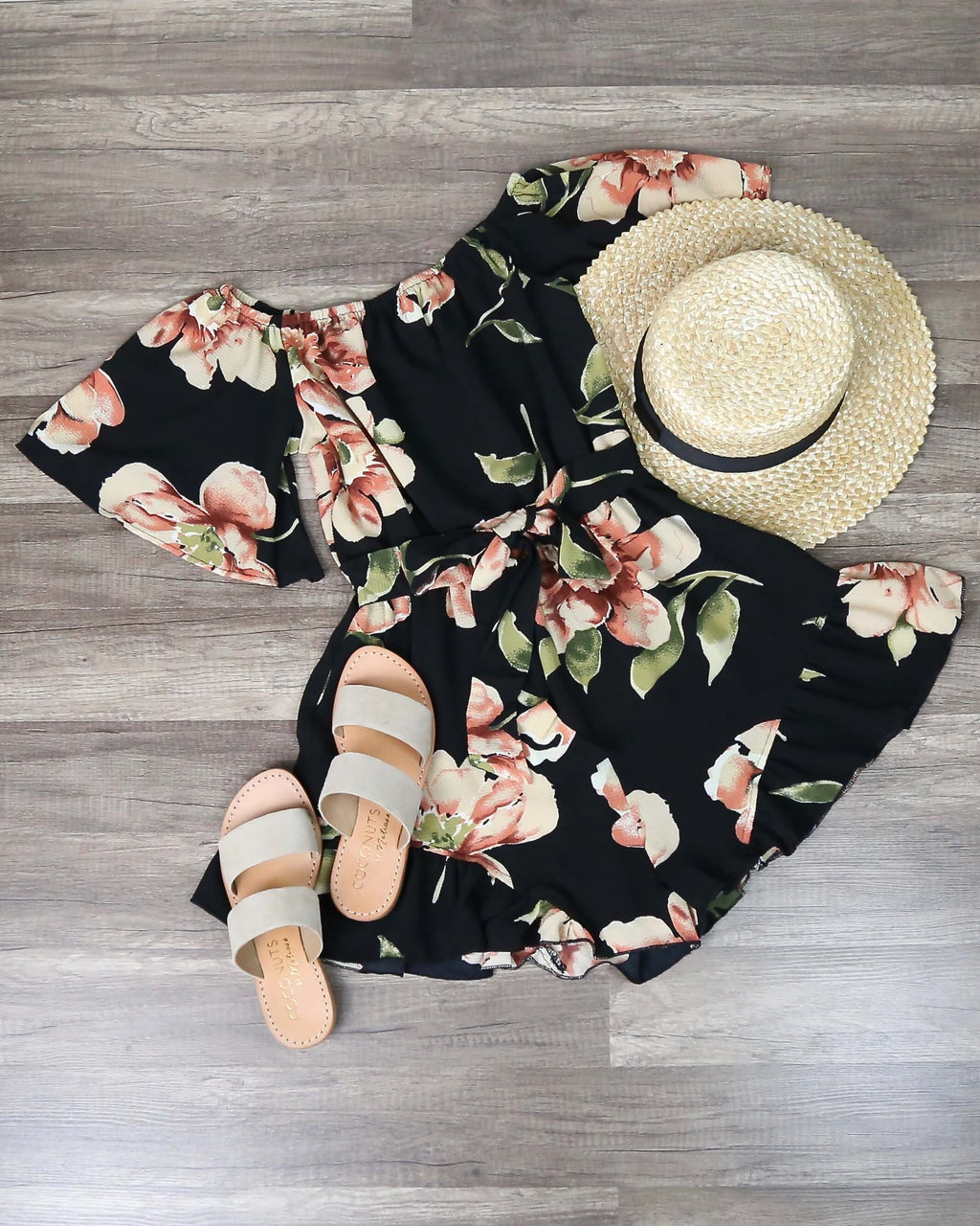 Final Sale - Reverse - Do Me A Favor Off the Shoulder Floral Romper in Black/Multi