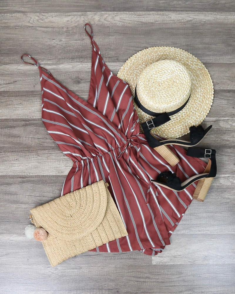 Reverse - Natalie Romper in Dusty Pink/Stripe