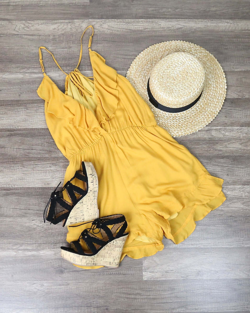 Honey Punch - Textured Ruffle Romper - Marigold