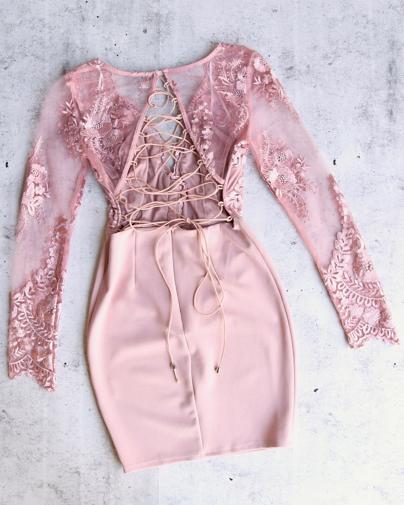 new love lace-up back bodycon dress - MAUVE