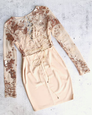 new love lace-up back bodycon dress - ROSE GOLD