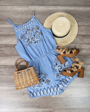 Final Sale - Blu Pepper - Chambray Embroidered Romper