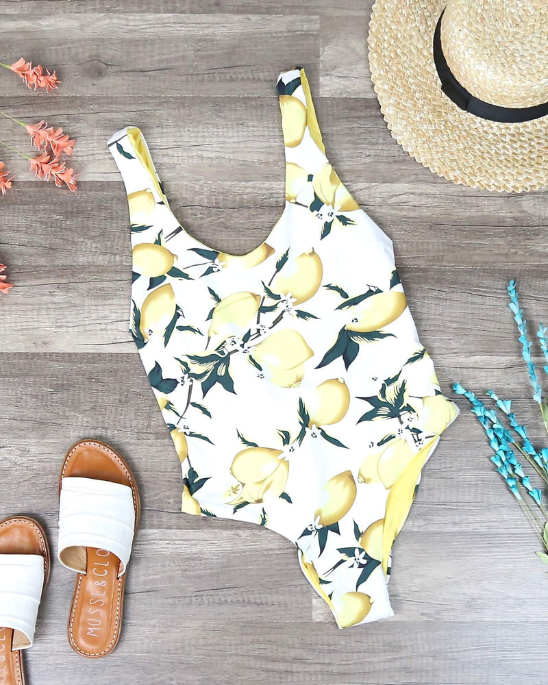 Seamless U Back One Piece Bikini - Yellow Lemonade