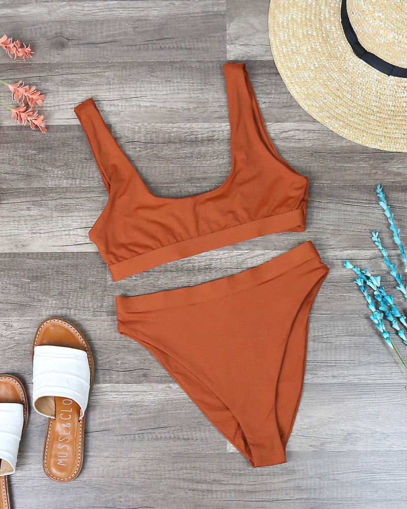 Sporty Swim Top + Banded High Waist Cheeky Bottom Separates - Rust