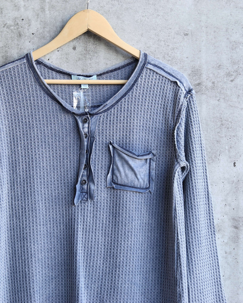 Long Sleeve Stone Washed Thermal Top in Navy