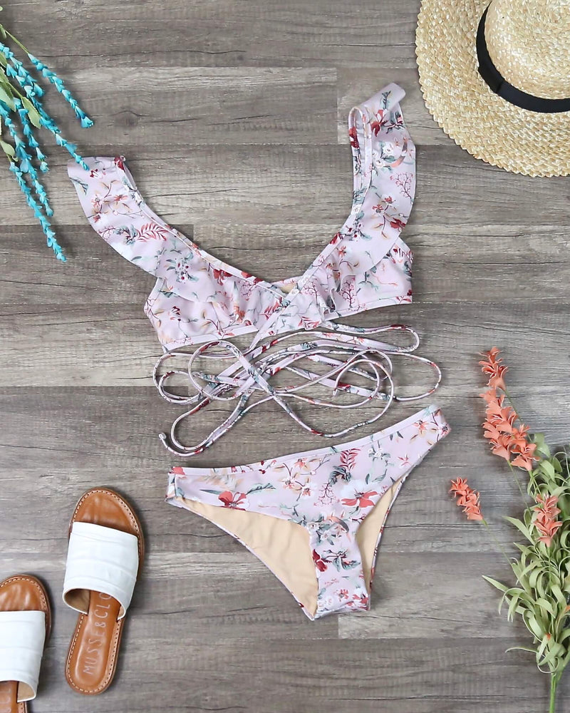 Final Sale - MINKPINK Swim Summer Meadow Frill Wrap Top and Bottom Bikini Separates