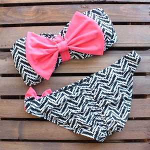 tribal chevron pink bow bikini - shophearts - 2