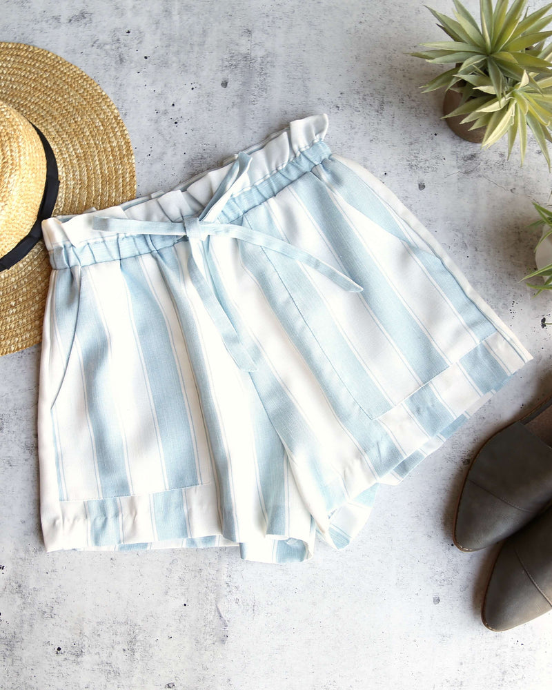 LUSH -  Stripe it Out Shorts with Pockets in Blue