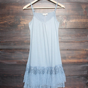 Ryu whimsical fairytale lace dress slip - dusty blue - shophearts