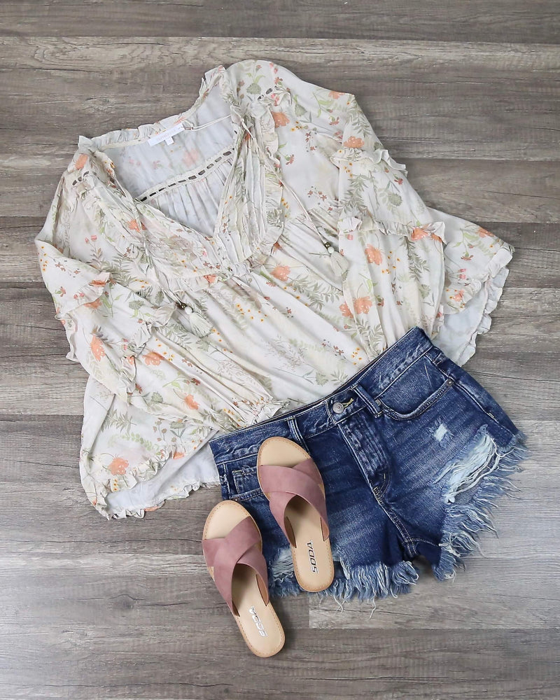 Natural Floral Babydoll Blouse