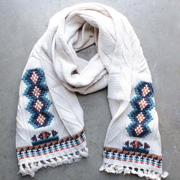chaser - campfire knit fringed scarf - shophearts - 3