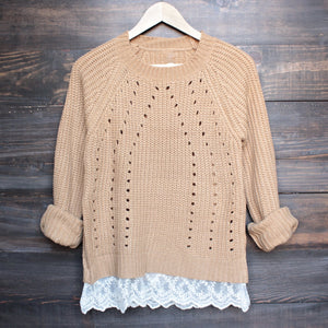 aspen open knit sweater with lace hem in tan - shophearts - 1