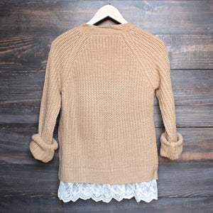 aspen open knit sweater with lace hem in tan - shophearts - 2