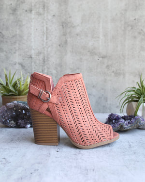 Perforated Suede Peep Toe Booties in More Colors
