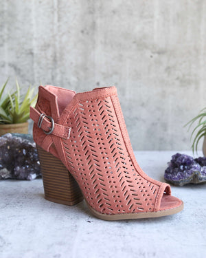 perforated suede peep toe booties - more colors