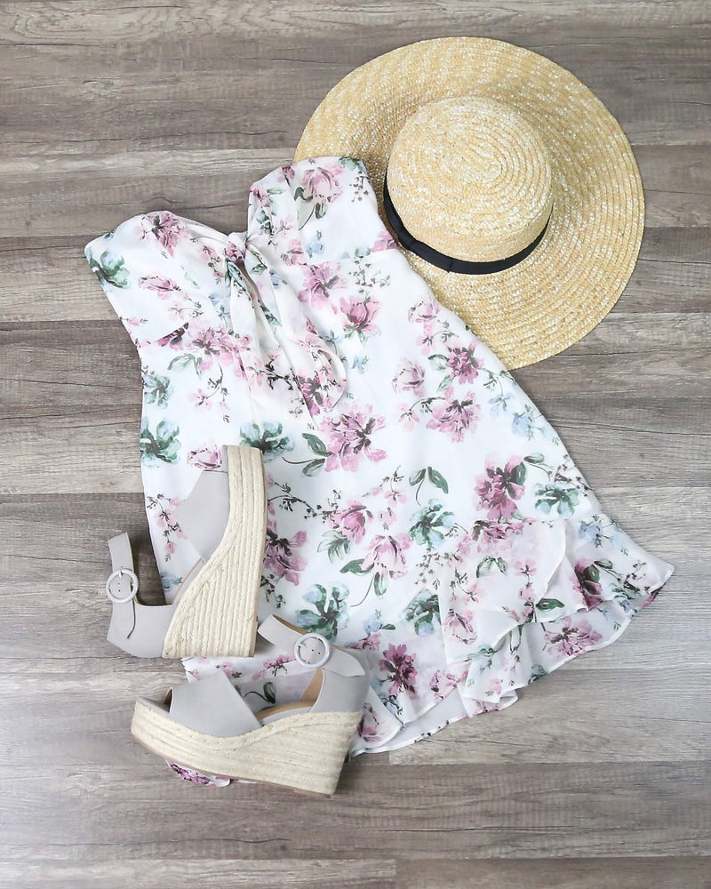 Pastel Floral Strapless Dress