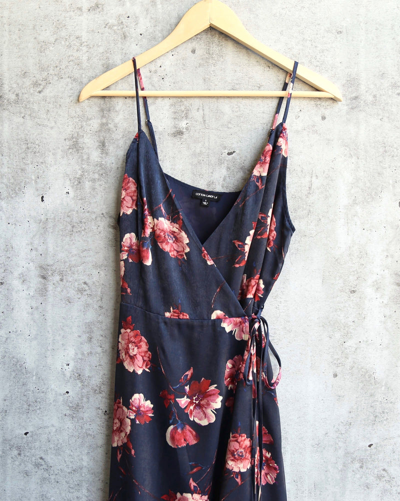 Final Sale - Cotton Candy LA - Heidi Floral Wrap Dress in Navy