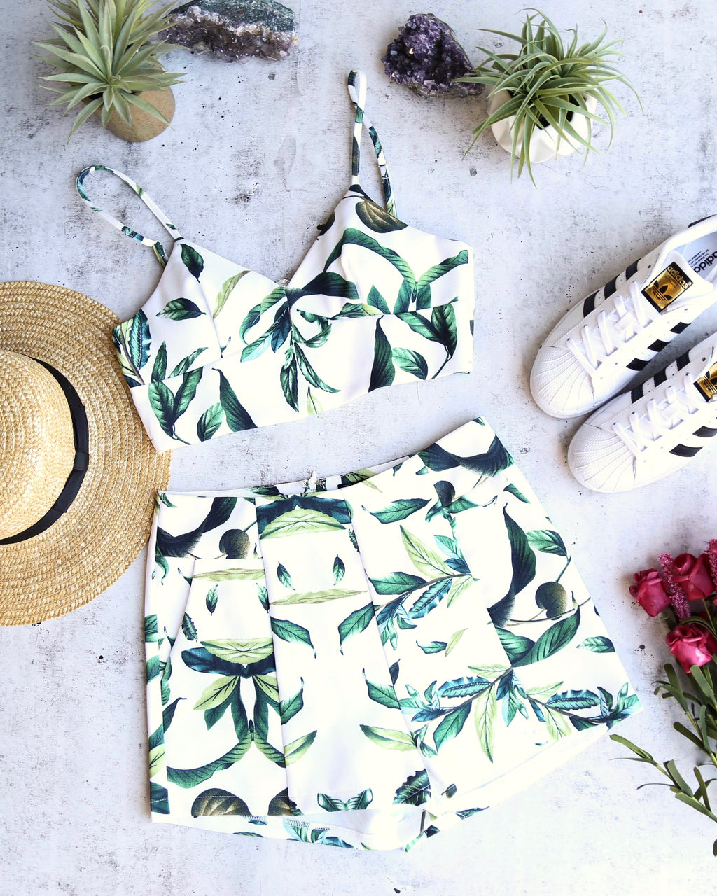 leaf print two piece set with pockets