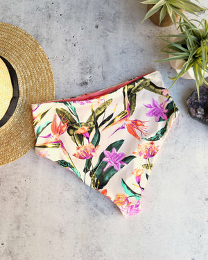 kris - seamless moderate coverate high-waist bikini bottom - birds of paradise