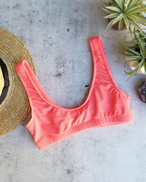 Kylie Ribbed Sporty Bikini Top in Coral