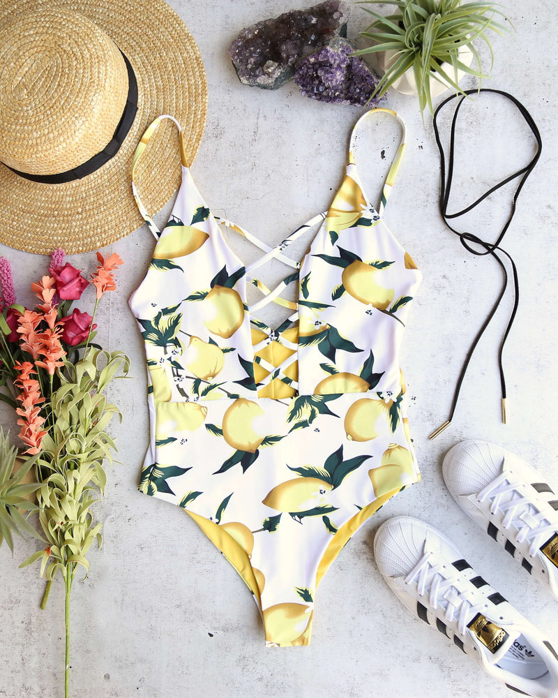 Seamless Caged Front One Piece Swimsuit - Yellow Lemonade