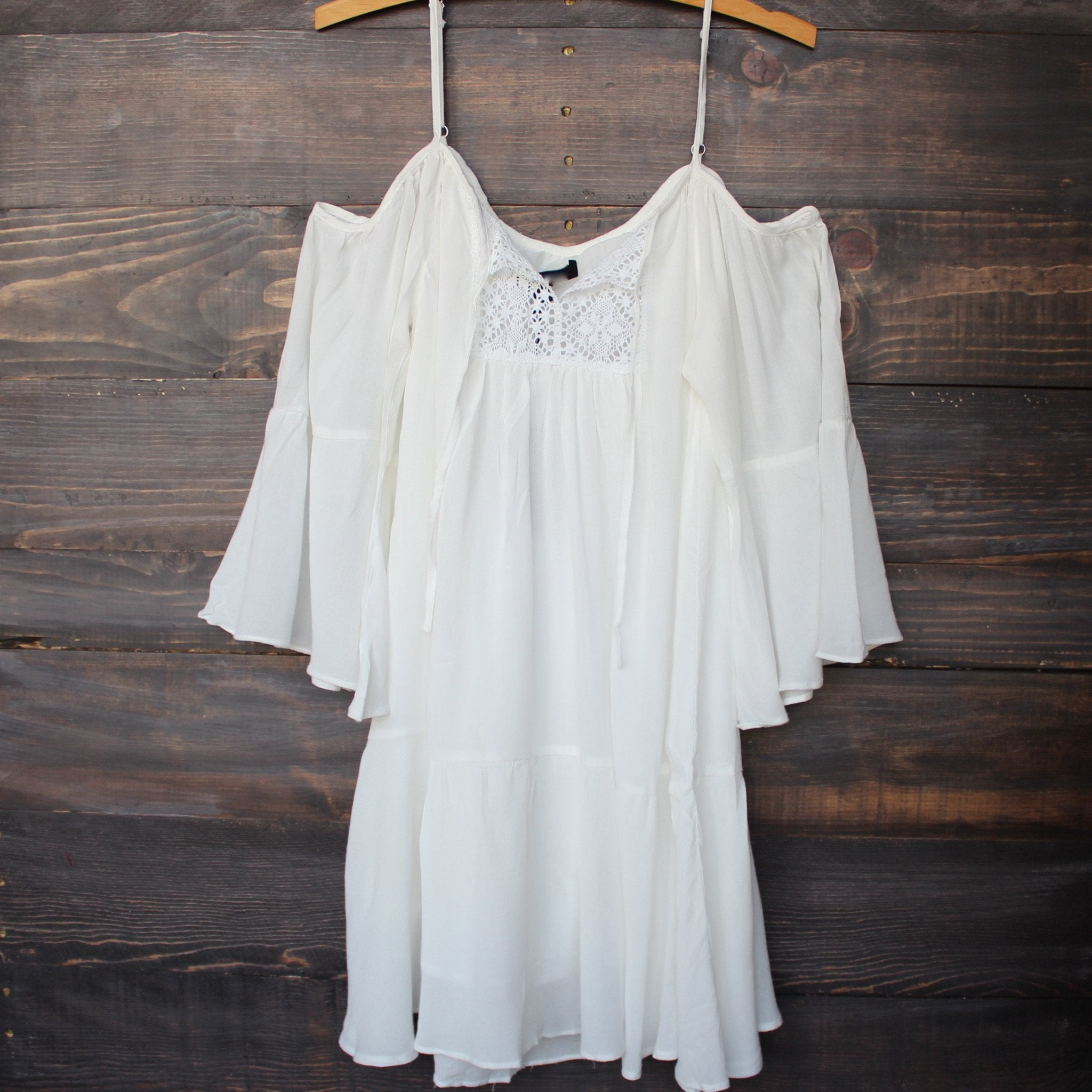 bohemian cold shoulder dress - white - shophearts - 1