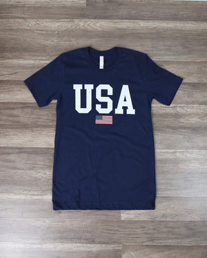 Distracted - USA Shirt Unisex Graphic Tee in Navy