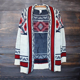 mod lightweight tribal cardigan aztec in rust - shophearts - 2