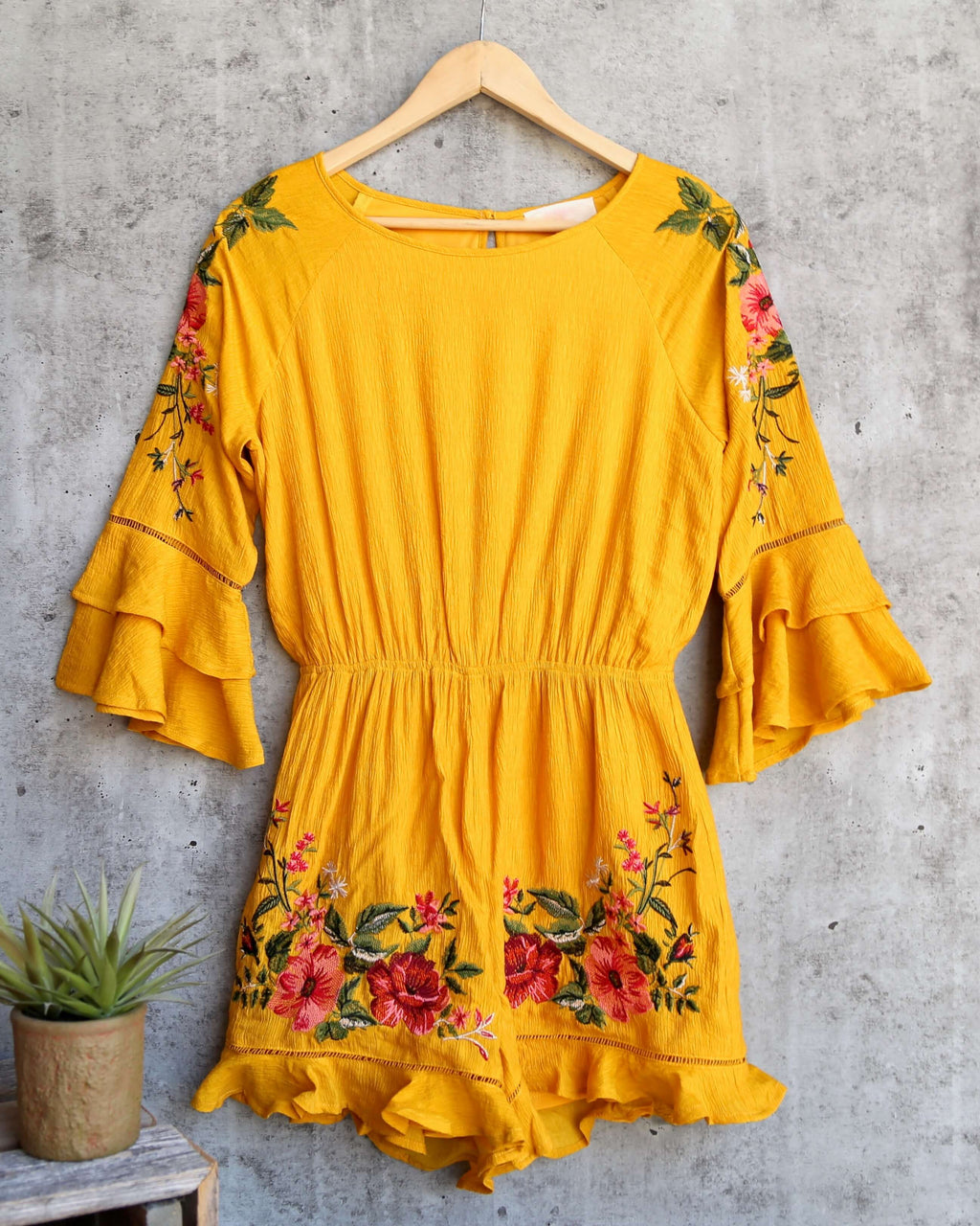 Floral Embroidered Romper in Mustard