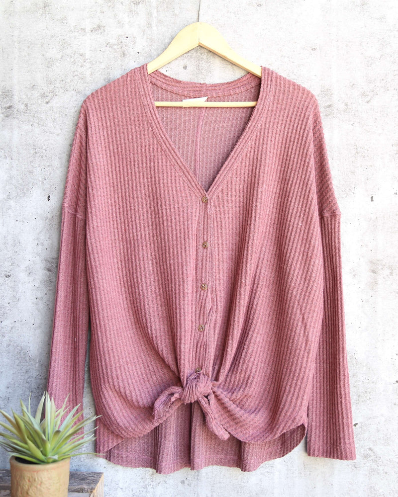 EVA - long sleeve thermal waffle knit v neck button down lightweight sweater - red bean