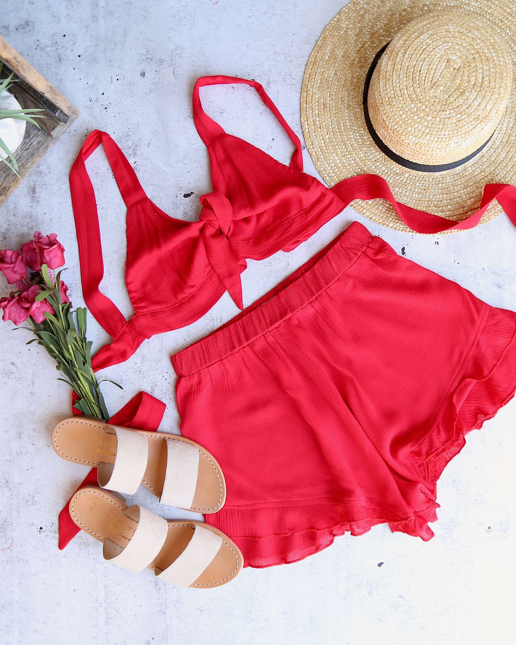 reverse -  layla linen two piece set - red