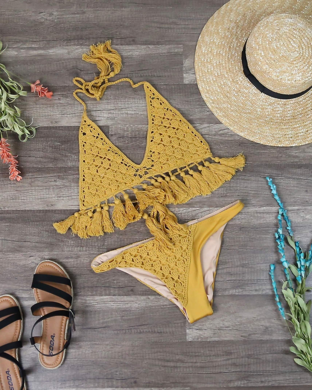 Final Sale - Somedays Lovin - Mystifying Crochet Bikini Top / Bottom Separates